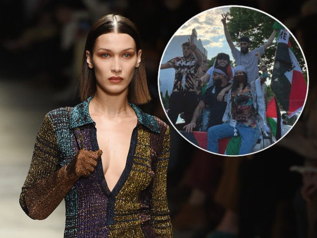 (INSET: Instagram photo of Hadid at a pro-Palestinian rally) MILAN, ITALY - FEBRUARY 22: Bella Hadid walks the runway during the Missoni fashion show as part of Milan Fashion Week Fall/Winter 2020-2021 on February 22, 2020 in Milan, Italy. (Photo by Tullio M. Puglia/Getty Images)