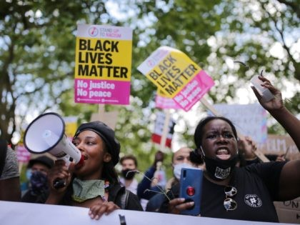 LONDON, ENGLAND - JUNE 13: Anti-racism protesters attend a Black Lives Matter demonstration on June 13, 2020 in London, England. A number of anti-racism protesters have gathered in London despite the cancellation of the official event due to fears of clashes with far-right groups. Following a social media post by …