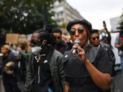 LONDON, ENGLAND - AUGUST 30: Black Lives Matter protesters are seen during the Million People March on August 30, 2020 in London, England. The Million People March is protesting against systemic racism and taking place in lieu of the Notting Hill Carnival. (Photo by Peter Summers/Getty Images)