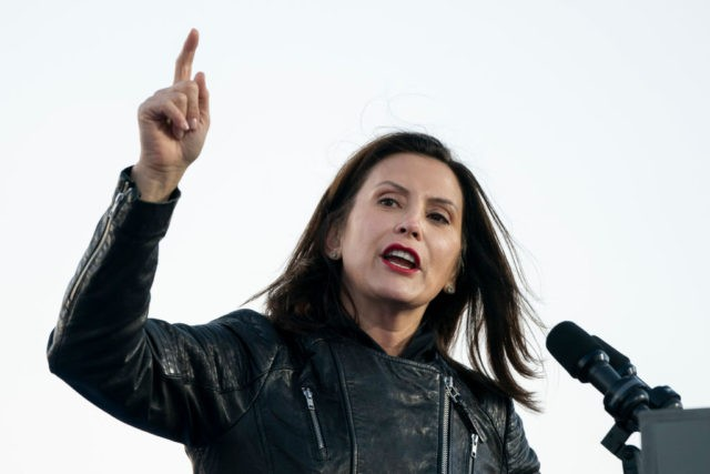 DETROIT, MI - OCTOBER 31: Gov. Gretchen Whitmer speaks during a drive-in campaign rally with Democratic presidential nominee Joe Biden and former President Barack Obama at Belle Isle on October 31, 2020 in Detroit, Michigan. Biden is campaigning with Obama on Saturday in Michigan, a battleground state that President Donald …