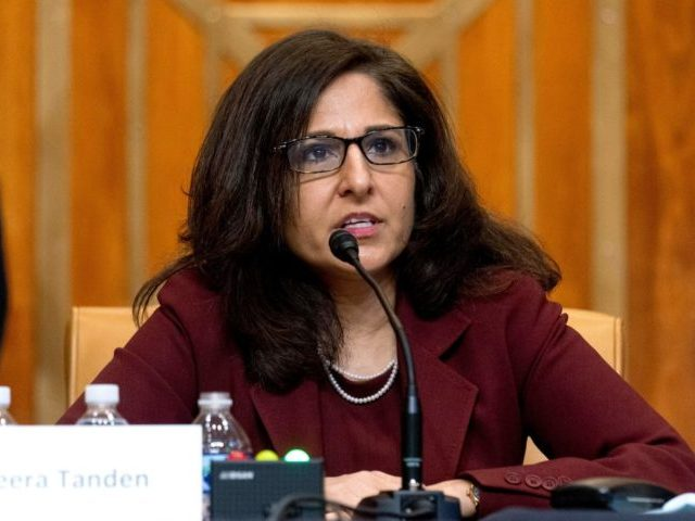 Neera Tanden, nominee for Director of the Office of Management and Budget (OMB), testifies during a Senate Committee on the Budget hearing on Capitol Hill in Washington, DC on February 10, 2021. (Photo by Andrew Harnik / POOL / AFP) (Photo by ANDREW HARNIK/POOL/AFP via Getty Images)