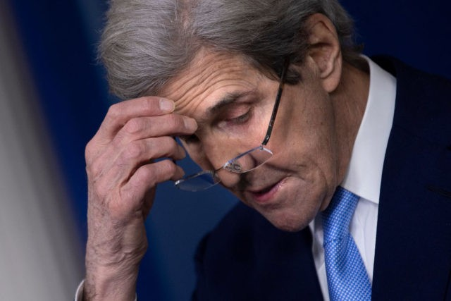 US envoy for climate John Kerry speaks during a press briefing at the White House on April 22, 2021, in Washington, DC. (Photo by Brendan Smialowski / AFP) (Photo by BRENDAN SMIALOWSKI/AFP via Getty Images)