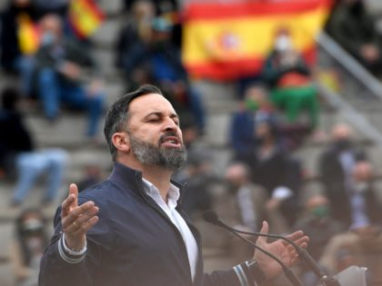 Leader of the far-right party Vox, Santiago Abascal gives a speech during a campaign meeting at the bullring in San Sebastian de los Reyes, near Madrid, on April 24, 2021 ahead of regional elections in Madrid. (Photo by OSCAR DEL POZO / AFP) (Photo by OSCAR DEL POZO/AFP via Getty …