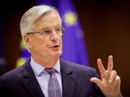 Head of the Task Force for Relations with the UK, Michel Barnier delivers a speech during the debate on EU-UK trade and cooperation agreement during the second day of a plenary session at the European Parliament in Brussels, on April 27, 2021. (Photo by OLIVIER HOSLET / POOL / AFP) …