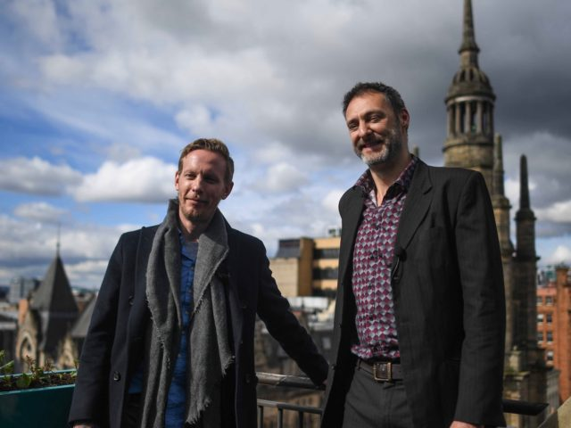 GLASGOW, SCOTLAND - APRIL 29: Lawrence Fox, Reclaim party Mayor of London candidate, and Leo Kearse, Reclaim party candidate for Glasgow Pollock, are seen during a campaign event on April 29, 2021 in Glasgow, Scotland. Scotland goes to the polls a week today in the local elections. (Photo by Peter …