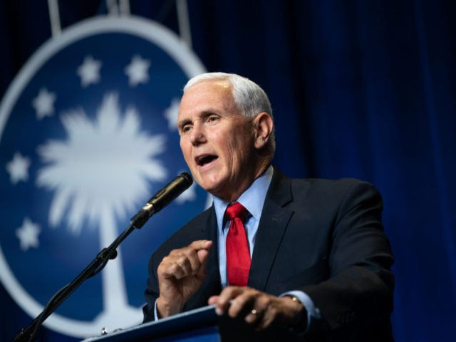 COLUMBIA, SC - APRIL 29: Former Vice President Mike Pence speaks to a crowd during an event sponsored by the Palmetto Family organization on April 29, 2021 in Columbia, South Carolina. The address was his first since the end of his vice presidency. (Photo by Sean Rayford/Getty Images)