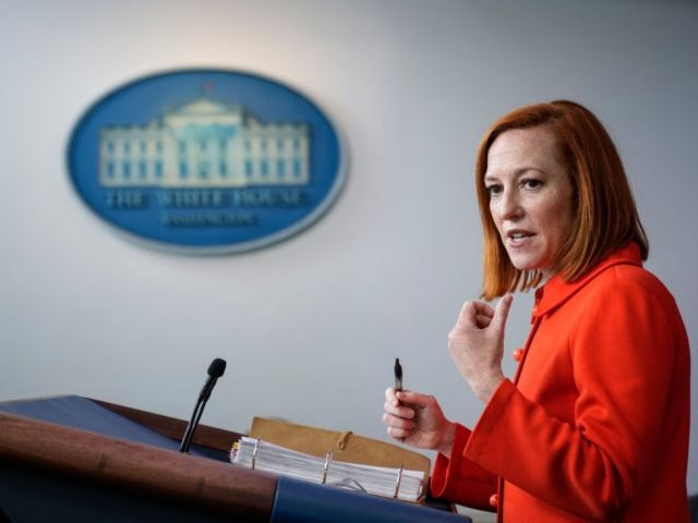 WASHINGTON, DC - MAY 12: White House Press Secretary Jen Psaki speaks during the daily press briefing at the White House on May 12, 2021 in Washington, DC. The majority of the briefing focused on the ransomware attack on the Colonial Pipeline. More than three-quarters of gas stations in some …