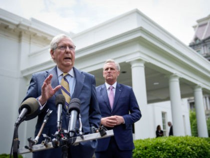 WASHINGTON, DC - MAY 12: (L-R) Senate Minority Leader Mitch McConnell (R-KY) and House Minority Leader Kevin McCarthy (R-CA) address reporters outside the White House after their Oval Office meeting with President Joe Biden on May 12, 2021 in Washington, DC. Biden and Vice President Kamala Harris met with Congressional …