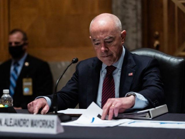 WASHINGTON, DC - MAY 13: Alejandro Mayorkas, Secretary of Homeland Security, testifies during a Senate Homeland Security and Government Affairs Committee hearing May 13, 2021 on Capitol Hill in Washington, DC. The committee is hearing testimony about the Biden administration's plan to deal with unaccompanied minors at the Southern U.S. …