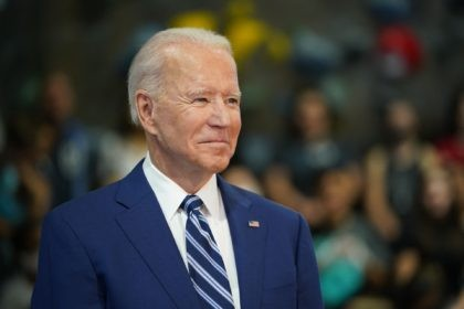 US President Joe Biden waits to speak as he visits the Sportrock Climbing Centers in Alexandria, Virginia on May 28, 2021. (Photo by MANDEL NGAN / AFP) (Photo by MANDEL NGAN/AFP via Getty Images)