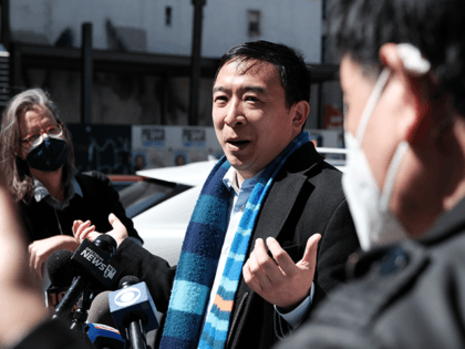 New York Mayoral Candidate Andrew Yang speaks to members of the media along Canal Street in Chinatown on April 05, 2021 in New York City. Yang, an Asian American, has been working to draw attention to recent assaults against Asians both in New York and the country. The candidate, who …