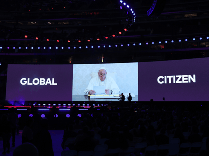 In this image released on May 2, Pope Francis speaks via video during Global Citizen VAX LIVE: The Concert To Reunite The World at SoFi Stadium in Inglewood, California. Global Citizen VAX LIVE: The Concert To Reunite The World will be broadcast on May 8, 2021. (Photo by Kevin Winter/Getty …
