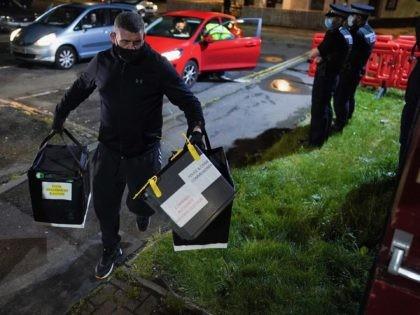 HARTLEPOOL, ENGLAND - MAY 06: The first Ballot boxes arrive at the Mill House Leisure Centre in Hartlepool after polling stations close and the verification and count process begins for the Hartlepool By-election on May 06, 2021 in Hartlepool, England. Hartlepool will decide between returning a Labour Party MP, who …