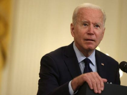 WASHINGTON, DC - MAY 07: U.S. President Joe Biden speaks on job numbers from April, 2021 at the East Room of the White House May 7, 2021 in Washington, DC. U.S. economy added 266,000 jobs in April, far less than the one million jobs that was expected. (Photo by Alex …