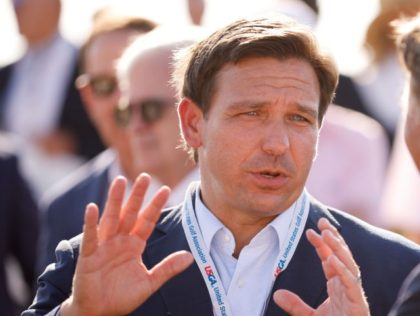 JUNO BEACH, FLORIDA - MAY 07: Florida Gov. Ron DeSantis attends the flag raising ceremony prior to The Walker Cup at Seminole Golf Club on May 07, 2021 in Juno Beach, Florida. (Photo by Cliff Hawkins/Getty Images)
