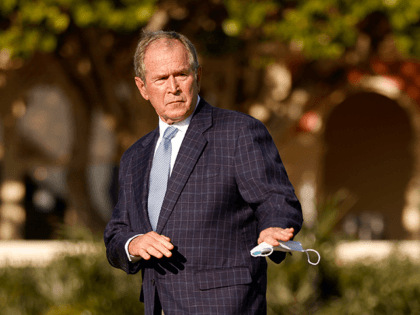 Former U.S. President George W. Bush attends the flag raising ceremony prior to The Walker Cup at Seminole Golf Club on May 07, 2021 in Juno Beach, Florida. (Photo by Cliff Hawkins/Getty Images)