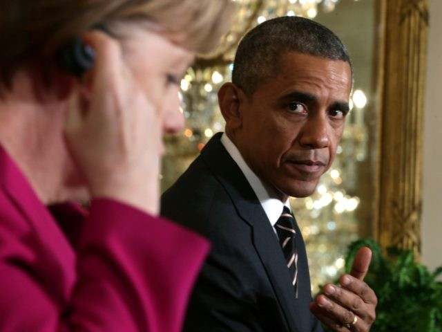 WASHINGTON, DC - FEBRUARY 09: German Chancellor Angela Merkel (L) and U.S. President Barack Obama hold a joint news conference in the East Room after meetings about the situation in Ukraine and other topics at the White House February 9, 2015 in Washington, DC. Merkel, French President Francois Hollande and …