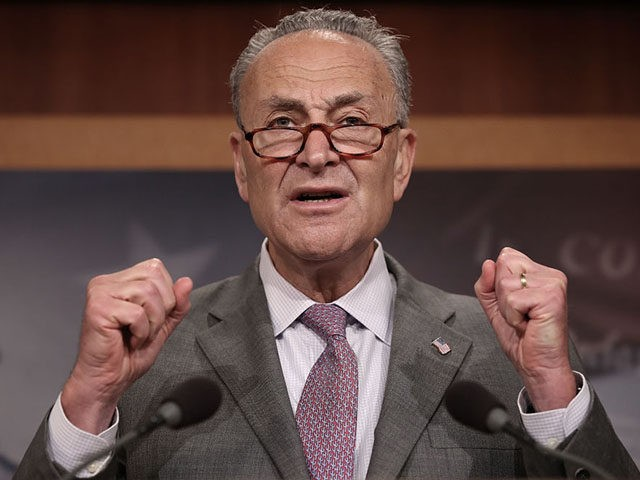 WASHINGTON, DC - JULY 13: Senate Minority Leader Chuck Schumer (D-NY) speaks during a press conference at the U.S. Capitol July 13, 2017 in Washington, DC. Schumer and Democratic leaders spoke out on the newly revised version of the Republican healthcare plan designed to repeal and replace the Affordable Care …