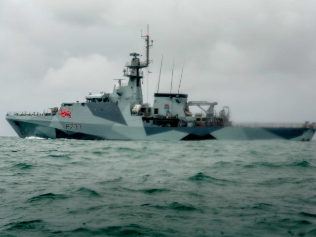 ST HELIER, JERSEY - MAY 06: HMS Tamar is deployed as French fishing boats sail into harbour to protest against new fishing licenses on May 6, 2021 in St Helier, Jersey. Up to 80 French fishing boats sailed to St Helier Harbour at 07:00 this morning to protest new fishing …