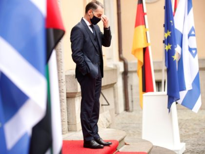 German Foreign Minister Heiko Maas reacts ahead of the historic meeting of UAE's Foreign Minister and Israel's counterpart at Villa Borsig in Berlin, on October 6, 2020. (Photo by HANNIBAL HANSCHKE / POOL / AFP) (Photo by HANNIBAL HANSCHKE/POOL/AFP via Getty Images)