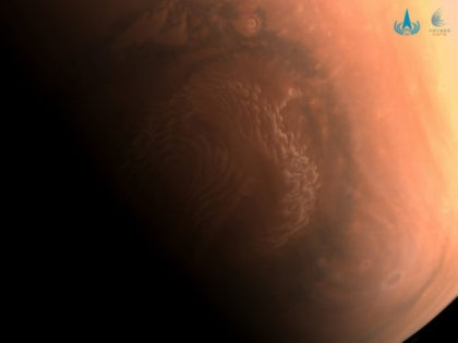 This image made available by the China National Space Administration on Thursday, March 4, 2021, shows a high-resolution photo of the surface of Mars taken by China's Tianwen-1 probe as it orbits the planet in preparation for landing. China says a cohort of astronauts have been selected and are in …