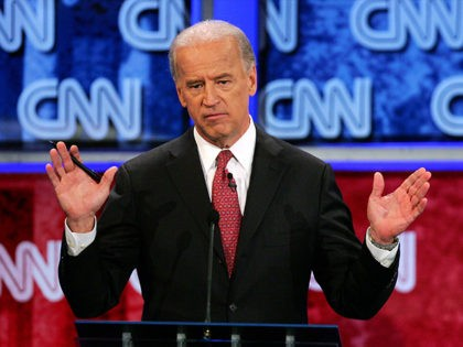 LAS VEGAS - NOVEMBER 15: U.S. Senator Joe Biden (D-DE) speaks during a Democratic presidential debate at UNLV sponsored by CNN November 15, 2007 in Las Vegas, Nevada. The two hour debate is moderated by Wolf Blitzer. (Photo by Ethan Miller/Getty Images)