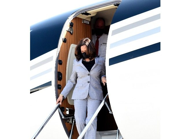 Democratic vice presidential nominee, Sen. Kamala Harris (D-CA) exits a private plane at Raleigh Durham International Airport on September 28, 2020 in Raleigh, North Carolina. Harris's campaign swing to the state comes a day before the first presidential debate between running mate Joe Biden and President Donald Trump. (Photo by …
