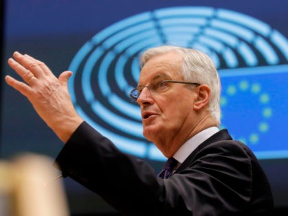 EU chief negotiator Michel Barnier speaks during a debate on future relation between the EU and UK at a plenary session of the European Parliament in Brussels on December 18, 2020. (Photo by Olivier HOSLET / POOL / AFP) (Photo by OLIVIER HOSLET/POOL/AFP via Getty Images)