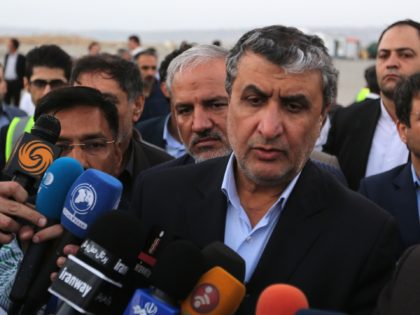 Iranian Minister of Transport Mohammad Eslami addresses the press on the sidelines of an inauguration ceremony of new equipment and infrastructure at Shahid Beheshti Port in the Southeastern Iranian coastal city of Chabahar on February 25, 2019. (Photo by ATTA KENARE / AFP) (Photo credit should read ATTA KENARE/AFP via …