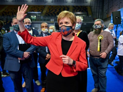 GLASGOW, SCOTLAND - MAY 07: First Minister Nicola Sturgeon reacts after being declared the winner of the Glasgow Southside seat at Glasgow counting centre in the Emirates Arena on May 07, 2021 in Glasgow, Scotland. All 129 Members of the Scottish Parliament (MSPs) will be elected. 73 MSPs will be …