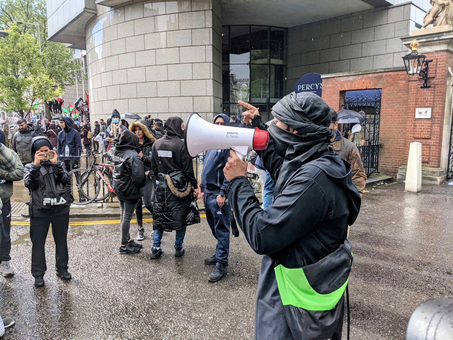 A protester is seen giving a speech with a bullhorn, at an anti-Israel protest in London. May 15th, 2021. Kurt Zindulka, Breitbart News