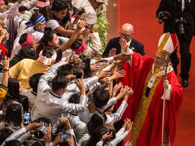 In this handout image provided by Catholic Bishops' Conference of Myanmar (CBCM), Pope Francis attends a public engagement on November 30, 2017 in Yangon, Burma. Thousands of Catholics have travelled from throughout Burma and neighboring countries to catch a glimpse of Pope Francis during his first ever papal visit to …