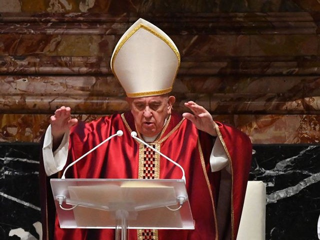 Pope Francis celebrates Good Friday Mass for the Passion of the Lord on April 2, 2021 at St. Peter's Basilica in the Vatican, during the Covid-19 coronavirus pandemic. (Photo by ANDREAS SOLARO / POOL / AFP) (Photo by ANDREAS SOLARO/POOL/AFP via Getty Images)