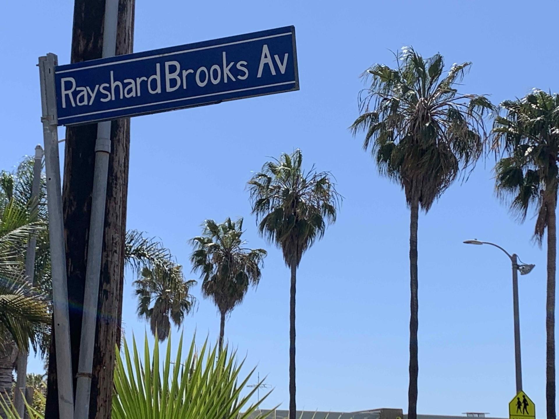 """Rayshard Brooks Avenue"" sign in Venice, California, April 28, 2021 (Joel Pollak / Breitbart News)"