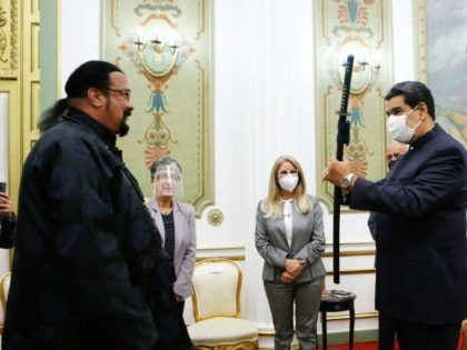 American 1990s action star and current Special Representative on Foreign Policy for Russia Steven Seagal met Venezuelan socialist dictator Nicolás Maduro in Caracas on Tuesday, offering him a samurai sword as a gift and enjoying a children's martial arts exhibition.