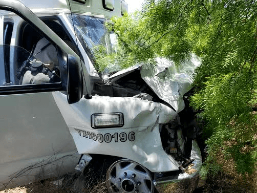 The driver of the stolen ambulance crashed after allegedly striking a Texas DPS troopers SUV. (Photo: Texas Law Enforcement Source)