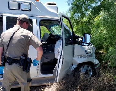 A Texas DPS trooper sustained injures after being struck by the driver of a stolen ambulance. (Photo: Texas Law Enforcement Source)