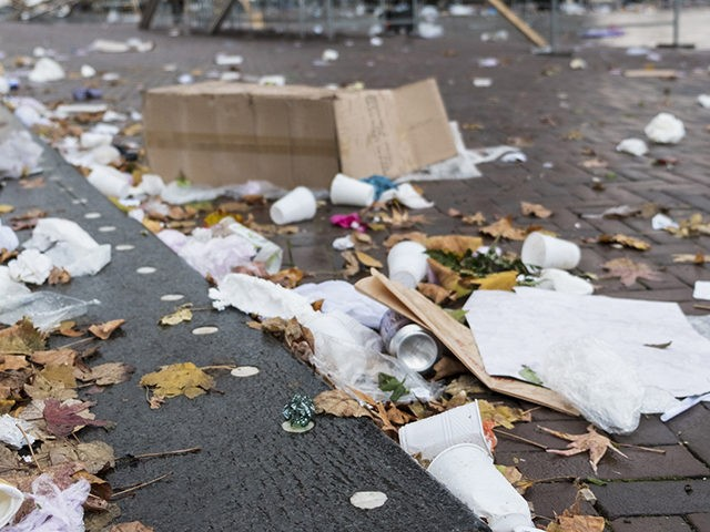 Litter left on the street after the weekly market, Rotterdam, the Netherlands