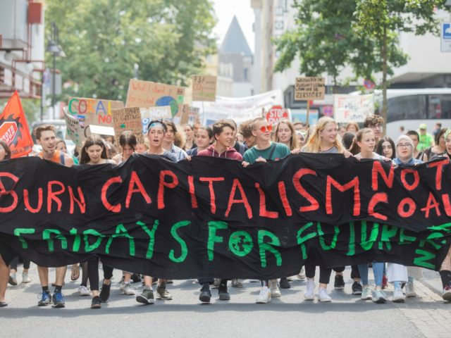 Student of the 'Fridays for Future' climate movement protest with a banner reading 'Burn capitalism - not coal' in Cologne, Germany, Friday, July 12, 2019. (Rolf Vennenbernd/dpa via AP)