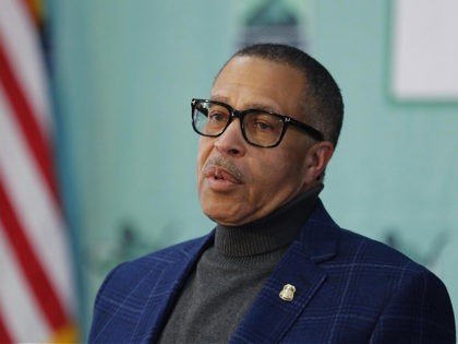 Detroit Police Chief James Craig, who was recently cleared to return to work after fighting his own COVID-19 diagnosis, addresses the media during Detroit Mayor Mike Duggan's daily press briefing on the coronavirus, Thursday, April 16, 2020, in Detroit. (AP Photo/Carlos Osorio)