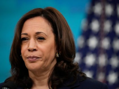 WASHINGTON, DC - MAY 4: U.S. Vice President Kamala Harris delivers virtual remarks to the Washington Conference on the Americas in the South Court Auditorium at the White House complex on May 4, 2021 in Washington, DC. The 51st Annual Washington Conference on the Americas is co-hosted by the U.S. …