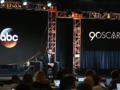 """PASADENA, CA - JANUARY 08: Jimmy Kimmel, host and executive producer of """"Jimmy Kimmel Live!"""" and host of the """"90th Oscars"""", speaks onstage during the ABC Television/Disney portion of the 2018 Winter Television Critics Association Press Tour at The Langham Huntington, Pasadena on January 8, 2018 in Pasadena, California. (Photo …"""