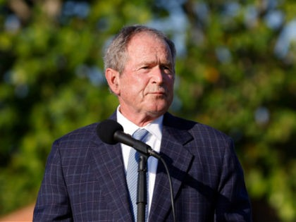 JUNO BEACH, FLORIDA - MAY 07: Former U.S. President George W. Bush speaks during the flag raising ceremony prior to The Walker Cup at Seminole Golf Club on May 07, 2021 in Juno Beach, Florida. (Photo by Cliff Hawkins/Getty Images)