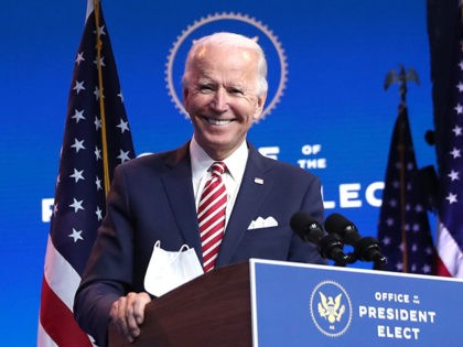 WILMINGTON, DELAWARE - NOVEMBER 16: U.S. President-elect Joe Biden delivers remarks about the U.S. economy during a press briefing at the Queen Theater on November 16, 2020 in Wilmington, Delaware. Mr. Biden and his advisors continue to work on the long term economic recovery plan his administration will try to …