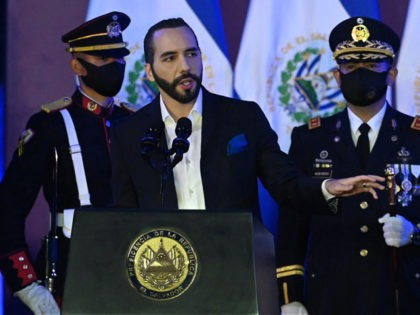 Salvadoran President Nayib Bukele delivers a speech during the commemoration of the Day of the Salvadoran Soldier and the 197th anniversary of the Salvadoran Armed Forces, at the Captain General Gerardo Barrios Military School, in Antiguo Cuscatlan, El Salvador, on May 7, 2021. (Photo by MARVIN RECINOS / AFP) (Photo …