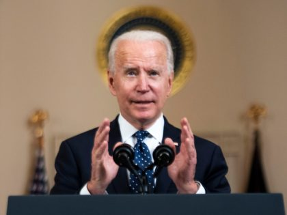 WASHINGTON, DC - APRIL 20: U.S. President Joe Biden makes remarks in response to the verdict in the murder trial of former Minneapolis police officer Derek Chauvin at the Cross Hall of the White House April 20, 2021 in Washington, DC. Chauvin was found guilty by the jury today on …