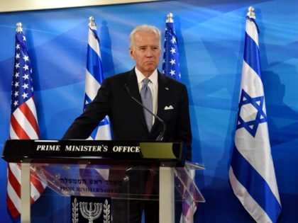 US Vice President Joe Biden and Israeli Prime Minister Benjamin Netanyahu, not seen, give joint statements in the prime minister's office in Jerusalem, Wednesday, March 9, 2016. (Debbie Hill, Pool via AP)