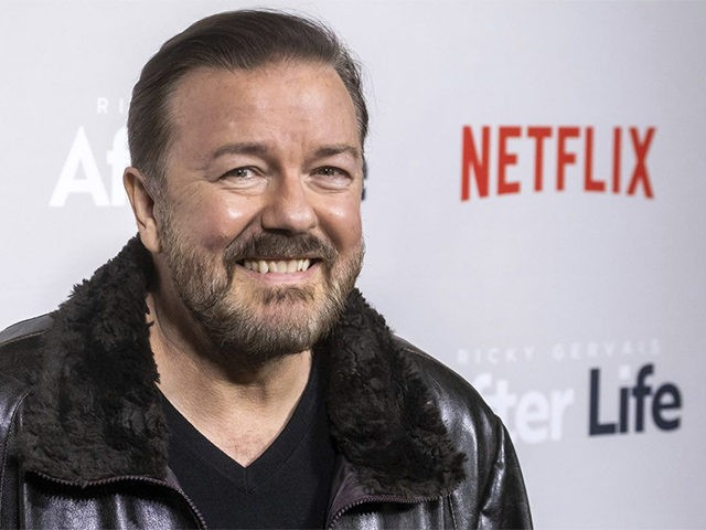 """In this Thursday, March 7, 2019, file photo, Ricky Gervais attends a screening of Netflix's """"After Life"""" at the Paley Center for Media in New York. Gervais is returning to host the Golden Globe Awards. Gervais is returning to host the Golden Globe Awards, which will be held at the …"""