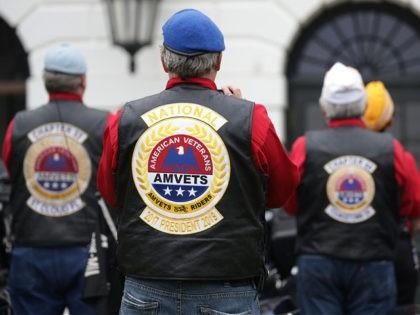 WASHINGTON, DC - MAY 22: Bikers listen during a Rolling to Remember Ceremony: Honoring Our Nation's Veterans and POW/MIA at the White House May 22, 2020 in Washington, DC. President Trump hosted the event to honor America's veterans and fallen heroes. (Photo by Alex Wong/Getty Images)