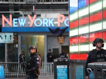 NEW YORK, NY - MAY 08: Police officers are seen in Times Square on May 8, 2021 in New York City. According to reports, three people, including a toddler, were injured in a shooting near West 44th St. and 7th Ave. (Photo by David Dee Delgado/Getty Images)